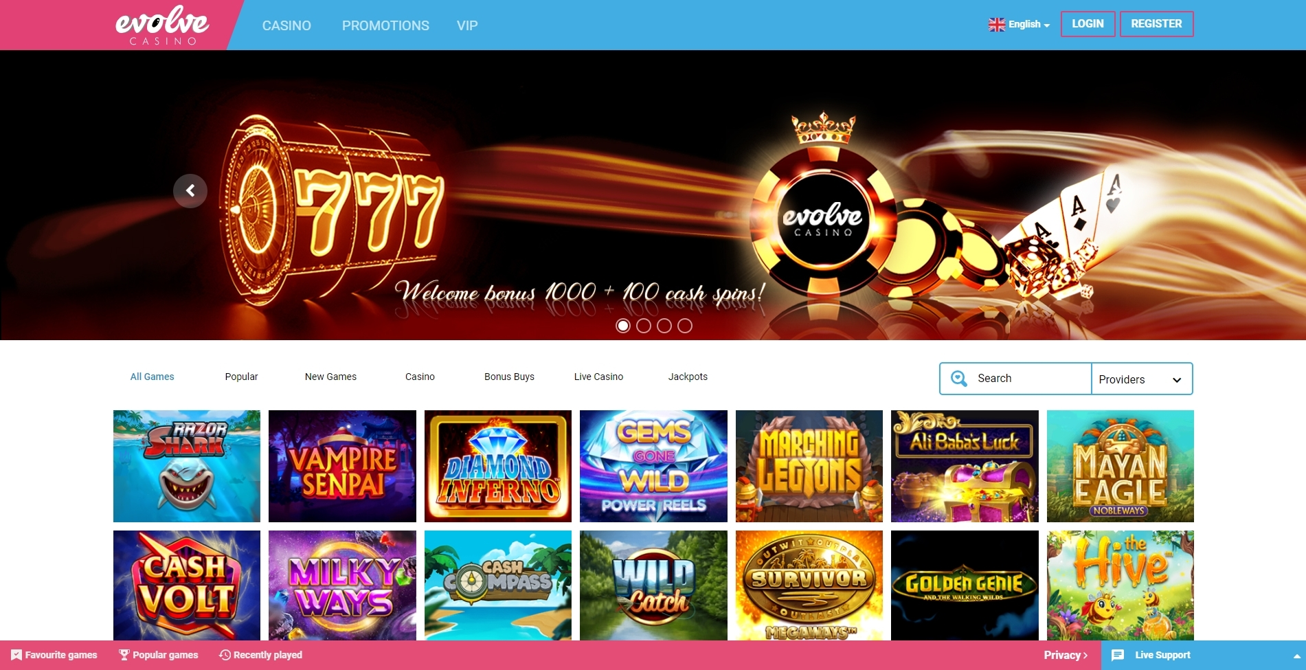 evolve casino review and bonus