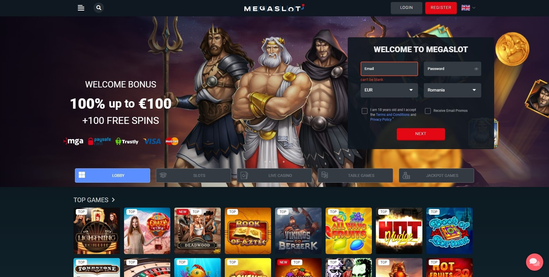 megaslot casino bonus and review